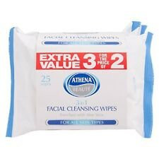 Athena Face Wipe Cleansing 3 in 1 25PK X3