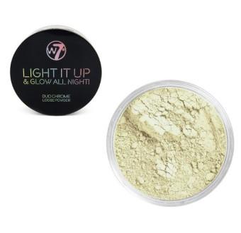 W7 Light It Up & Glow All Night Duo Chrome Loose Powder Open 24/7